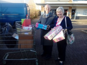 Clive and Yvonne buying toys