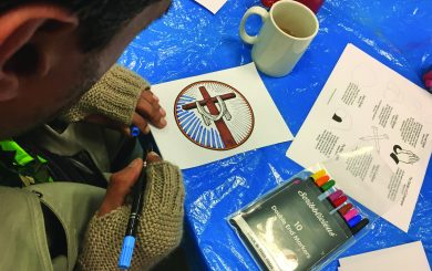 Colouring at a Care Centre craft session
