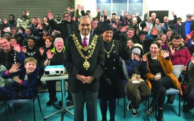 Sleepout participants with mayor
